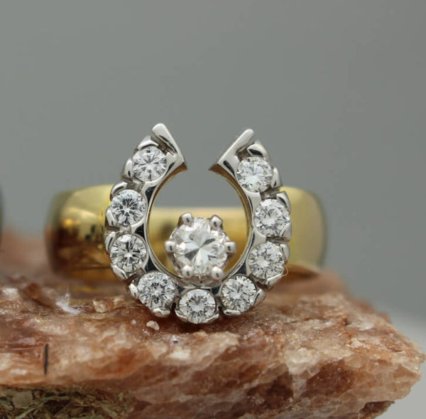 14k horseshoe ring with a total of 0.75ctw of diamonds by Lesley Rand Bennett