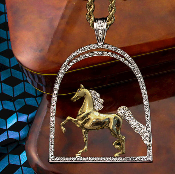 Park Horse in Diamond Stirrup Pendant - Bennett Fine Jewelry