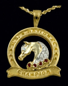 U.S. National Champion Diamond & Ruby Cutout Medallion Pendant - Bennett Fine Jewelry