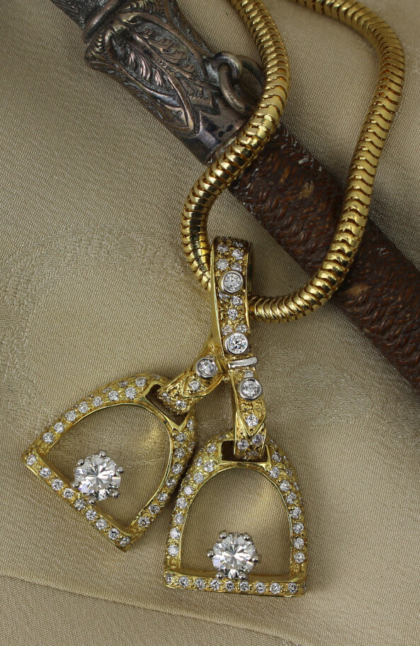 Pave Double Diamond Stirrup Pendant