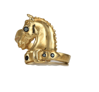 14k Horse Ring with black diamonds by Lesley Rand Bennett