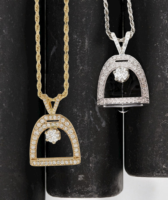International Collection- Pave Diamond Stirrup Pendant