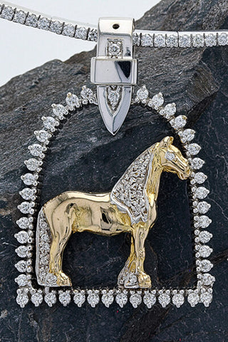 Diamond Stirrup Friesian Horse Pendant
