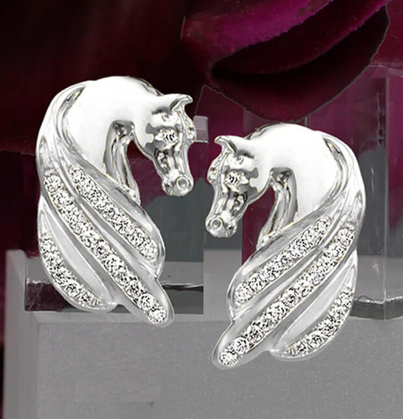 14k white gold Horse head earrings with diamond manes. Handcrafted by Lesley Rand Bennett