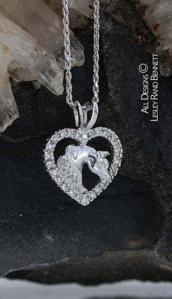 14k white gold horse head in heart pendant by Lesley Rand Bennett
