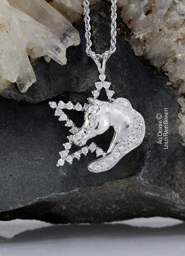 White gold and diamond star and horse head pendant  handcrafted by LesleyRand Bennett