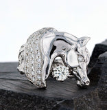 White gold horse head ring 1166 with pave mane and solitaire accent. By Lesley Rand Bennett