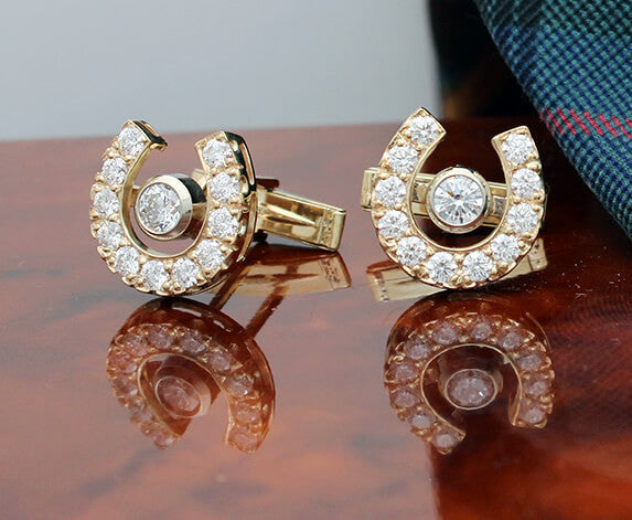 Diamond Horseshoe Cuff links - Bennett Fine Jewelry