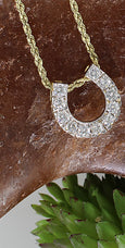 14k yellow gold diamond horseshoe pendant size 2 by Lesley Rand Bennett