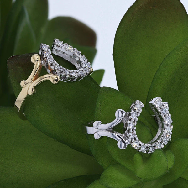 New classic diamond horseshoe rings by Lesley Rand Bennett. Pictured in yellow and white gold.