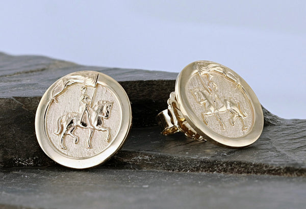 Joan of Arc Earring in 14k yellow gold button style by Lesley Rand Bennett
