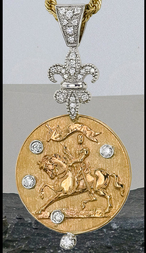 14k gold and diamond Joan of Arc pendant Copyright and design by Lesley Rand Bennett