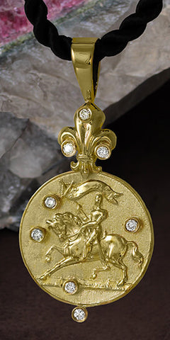 Forward into History, Joan of Arc Pendant by Lesley Rand Bennett