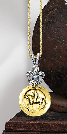 Astride with Border and Diamond Fleur de Lis Pendant - Bennett Fine Jewelry