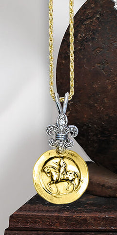 Astride with Border and Diamond Fleur de Lis Pendant