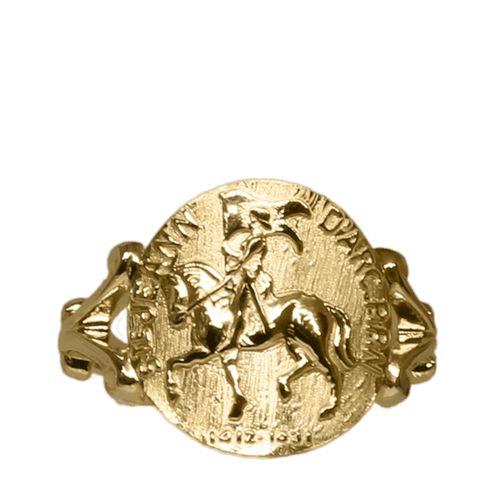 Joan of Arc horse ring 1454c in 14k yellow gold by Lesley Rand Bennett