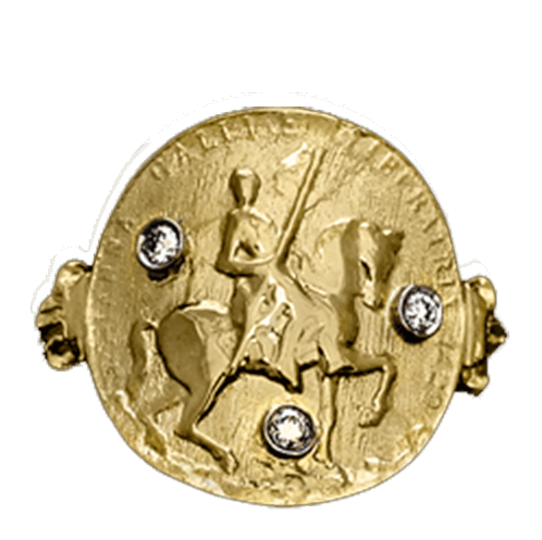 Joan of Arc Warhorse Ring with Diamonds