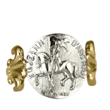 Joan Of Arc Ring Astride with Fleur-de-lis Shank