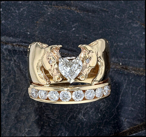 We Love Horses Ring With 1 2 Carat Heart Shaped Diamond