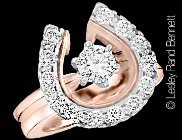 Large Two Become One Horseshoe wedding set in rose gold with 1/2 carat solitaire ring. this copyrighted design is handcrafted by Lesley Rand Bennett