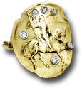 Joan of Arc 14K Shield Ring With Diamonds - Bennett Fine Jewelry