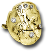 Joan of Arc 14K Shield Ring With Diamonds
