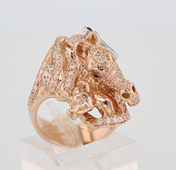 Arabian Mare & Foal Ring in rose gold - Bennett Fine Jewelry