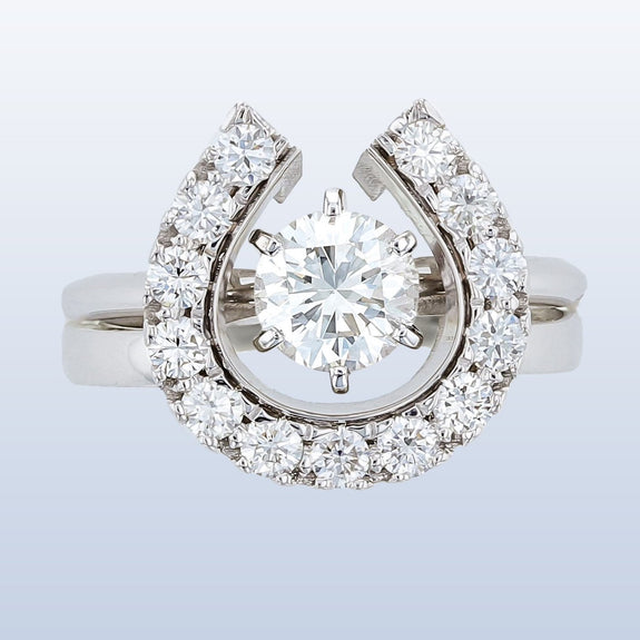 Diamond Horseshoe wedding set with round solitaire engagement ring