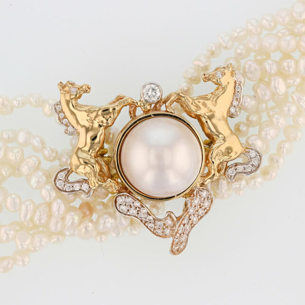 Regal Arabian Horse Pearl Necklace - Bennett Fine Jewelry