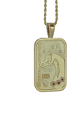 Large US Arabian and Half Arabian Horse National Champion Tag Pendant in 14k yellow gold . Copyrighted design handcrafted by Lesley Rand Bennett