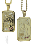 US Arabian and Half Arabian Horse National Champion Tag Pendants in 14k yellow gold . Copyrighted design handcrafted by Lesley Rand Bennett