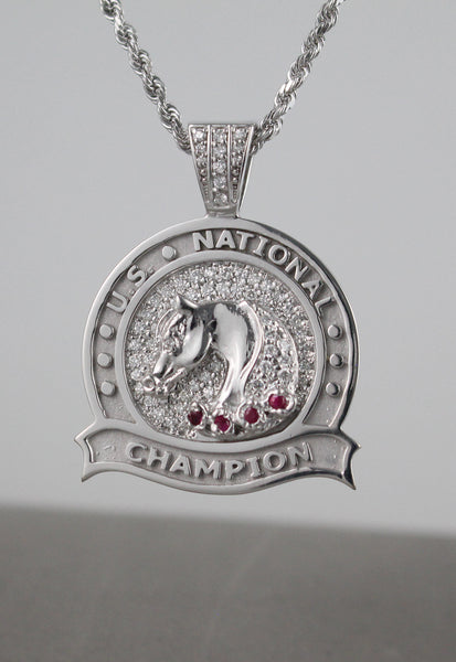 U.S. National Champion Diamond & Ruby Medallion Pendant copyright design handcrafted by Lesley Rand Bennett
