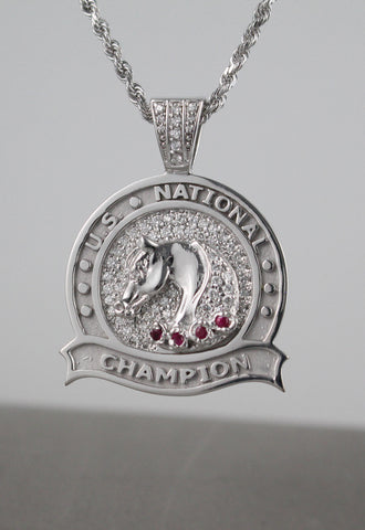 U.S. National Champion Diamond & Ruby Medallion Pendant