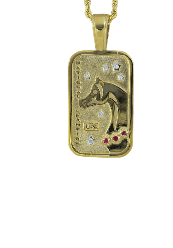 Small US Arabian and Half Arabian Horse National Champion Tag Pendant in 14k yellow gold . Copyrighted design handcrafted by Lesley Rand Bennett