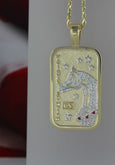 14k yellow Arabian and Half-Arabian Horse National Champion Tag Pendant Pave by Lesley Rand Bennett