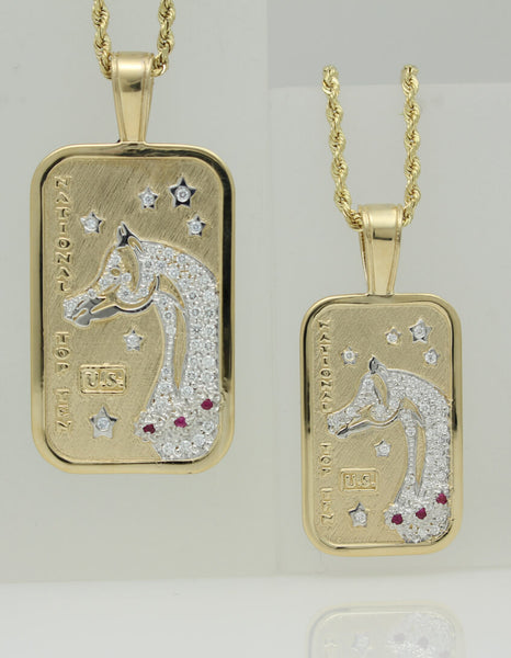 Pave US Arabian and Half Arabian Horse National Top Ten Tag Pendants this is a copyright design by Lesley Rand Bennett