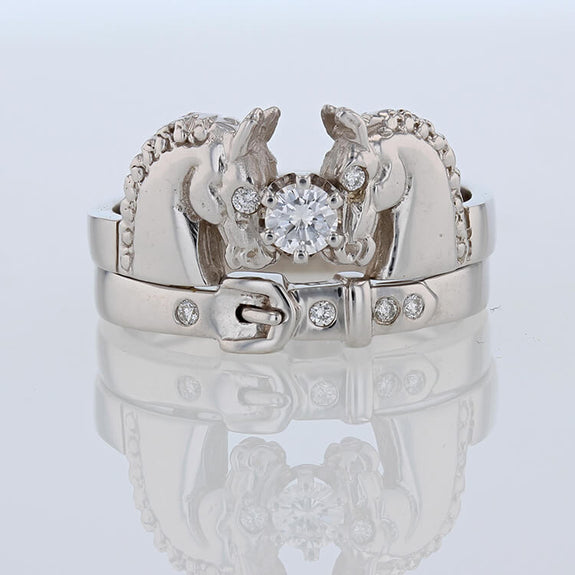 Noble horses ring in 14k white gold with diamonds by Lesley Rand Bennett