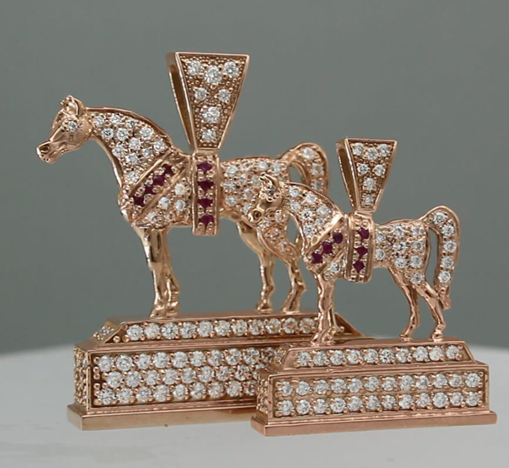 Pave trophy replica Arabian Horse pendants in rose gold. Two sizes. By Lesley Rand Bennett