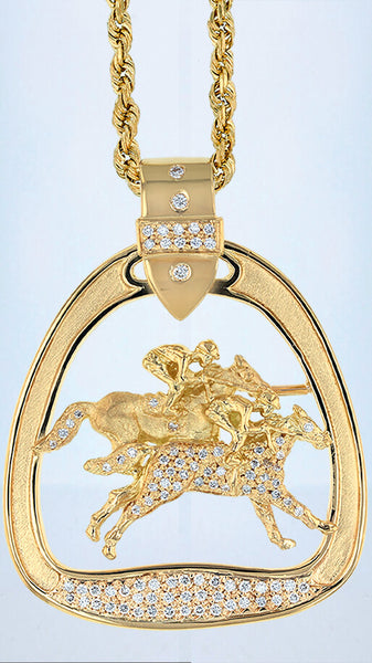 Run for the Roses horse racing stirrup pendant with diamonds by Lesley Rand Bennett