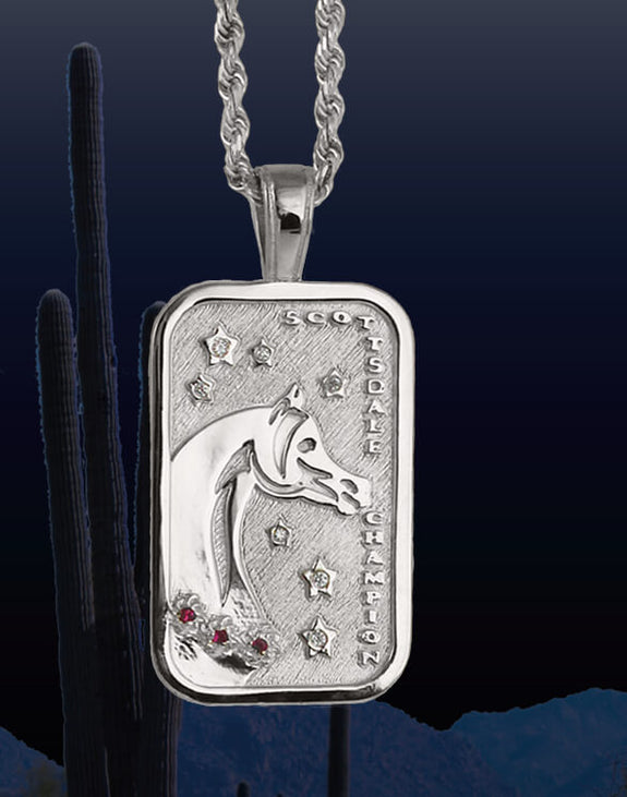 Scottsdale Horse Show champion tag pendant in 14k white