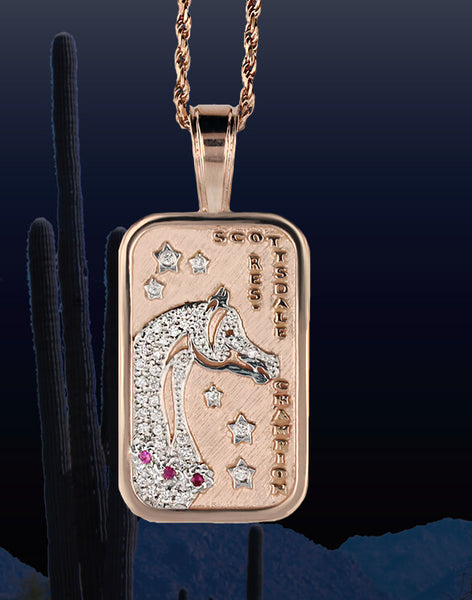 Scottsdale-horse-show-reserve-tag-pendant-pave-rose