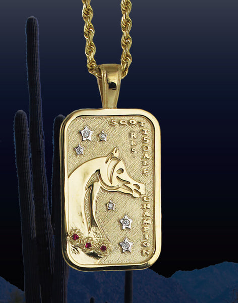 Scottsdale Arabian Horse Show reserve Champion Tag Pendant in 14k yellow gold by Lesley Rand Bennett