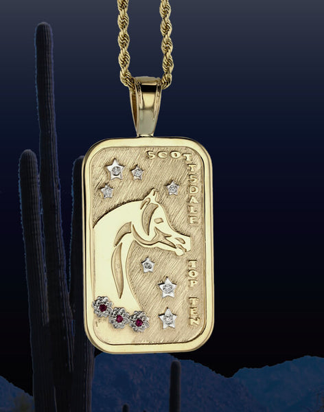 Scottsdale Arabian Horse Show Top Ten Tag Pendant in 14k yellow gold by Lesley Rand Bennett