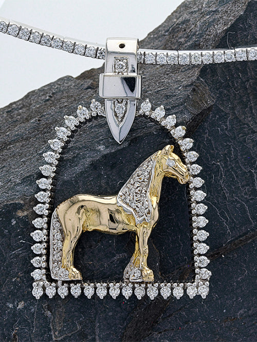 Diamond stirrup horse pendant with Friesian horse in 14k gold