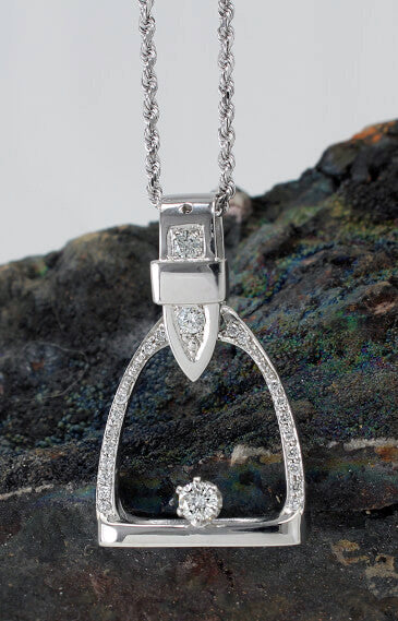 14k White gold and diamond stirrup pendant. this copyrighted design is handcrafted by Lesley Rand Bennett