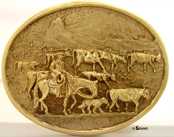 The Cattle Drive Belt Buckle in solid 18k - Bennett Fine Jewelry