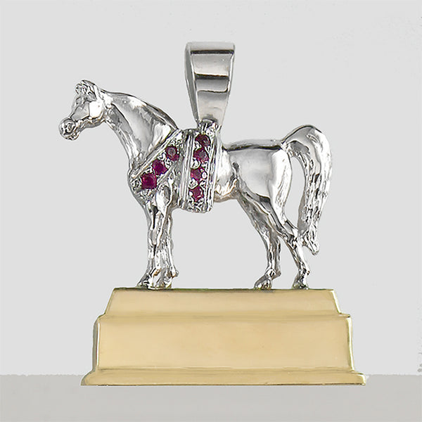Arabian Horse National Champion Trophy Replica in 14k gold with rubies.