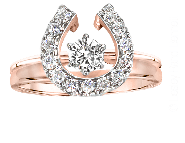 Two Become One Diamond Horseshoe wedding set in 14k rose gold with 1/4 carat solitaire. Copyrighted design handcrafted by Lesley Rand Bennett.