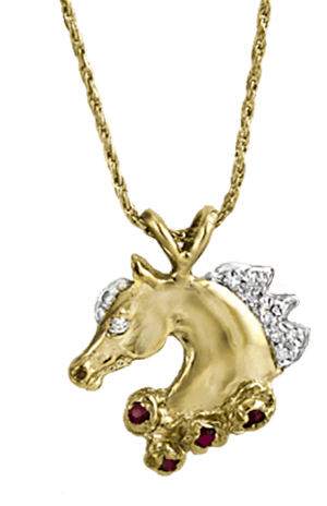 Victory Wreath Horse Pendant in gold with diamonds and rubies. Copyrighted design handcrafted by Lesley Rand Bennett