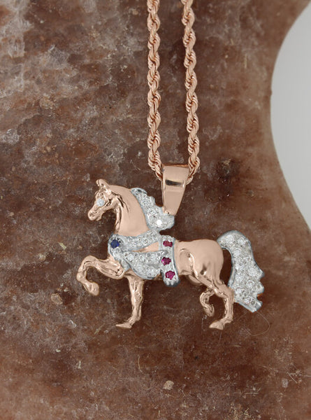 Rose Gold Victory Pass Arabian Horse pendant. This copyrighted design is handcrafted by Lesley Rand Bennett